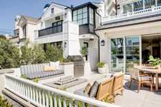California Narrow Lot Beach House - Home Bunch Interior Design Ideas Grey And White Cushions, Striped Cushions, Rectangular Fire Pit, Outdoor Chairs, Outdoor Decor, Lounge Chairs, Outdoor Spaces, Outdoor Living, Outdoor Patio Designs