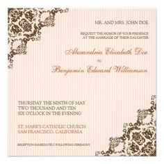 Sweet Damask Corners Coral Wedding Invitation