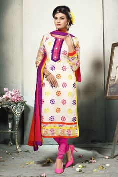 THANKAR OFF WHITE EMBROIDERED COTTON DRESS MATEIRIAL  dress  shopping   clothing  salwarsuits c2794aab518a4