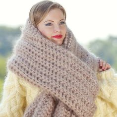Extra long hand knitted mohair scarf shawl in beige by SuperTanya Gros Pull Long, Hand Knitted Sweaters, Online Boutiques, Hand Knitting, Fashion Models, Shawl, Knitwear, Knit Crochet, Cashmere