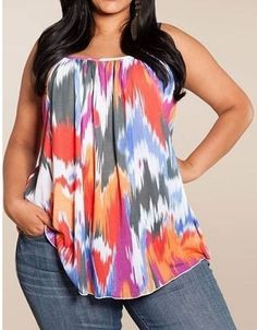 Fashion Sexy Printed Sleeveless Plus Size Spaghetti Strap Shirt Blouse