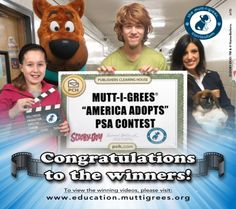 """Winners of the Mutt-i-grees(R) """"America Adopts"""" PSA Contest are in! The PSA Contest, a nationwide initiative to raise awareness of the availability and desirability of adoptable pets, known as Mutt-i-grees, reflects the essence of the Mutt-i-grees Curriculum; a unique approach that teaches children to make responsible choices. Students across the country submitted creative PSAs encouraging Americans to adopt from their local shelter or rescue group.  The top winners are The Arch Ford Early Educ…"""