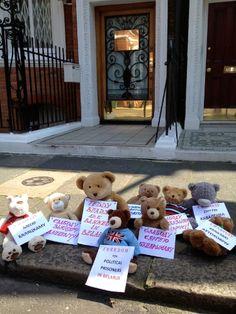 Outside the Belarusian Embassy in London, teddy bears protest for freedom of speech in Belarus.