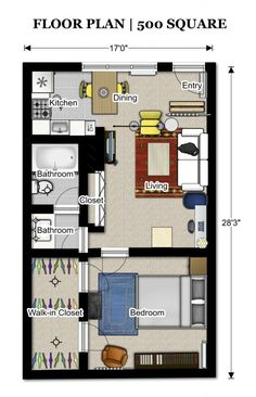 this floor plan is about 500 sq ft. If we build, move entry. Put bed up in loft, office in bedroom area. larger kitchen. overall dimensions: 16x24.