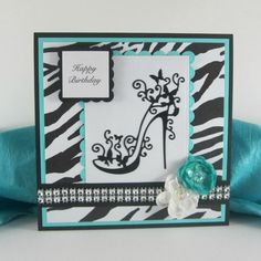 Happy Birthday card, high heels, zebra print, aqua, for women, female, woman personalized card with any sentiment