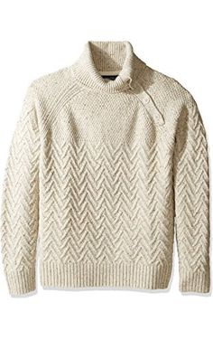 Nautica Men's Long Sleeve Raglan with Button Neck Sweater, Sandy Bar, Small  ❤ Nautica