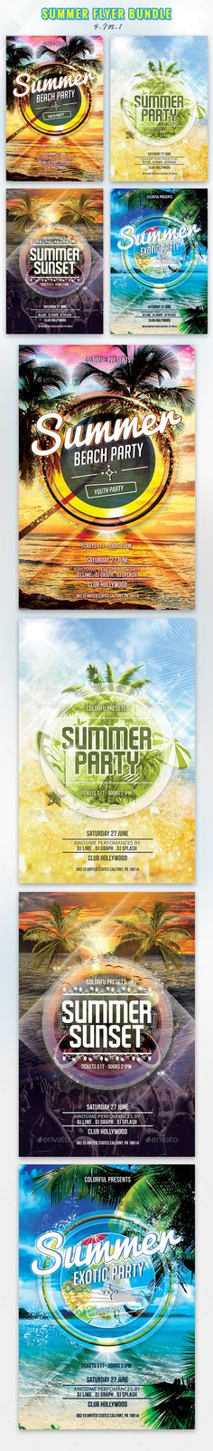 Summer Flyer Templates PSD Bundle. Download here: https://graphicriver.net/item/summer-flyer-bundle/17459640?ref=ksioks