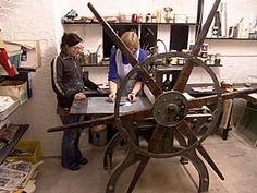 Participant at a print workshop with Dawn Brooks Dawn, Workshop, Atelier