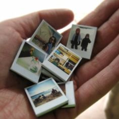 Get some small white tiles, print off your favorite pictures onto photo paper small enough to fit on the tile. Use a clear coat of nail polish, mod podge, or clear paint to seal on. Glue a magnet on the back, and presto! cute and enjoyable magnets.