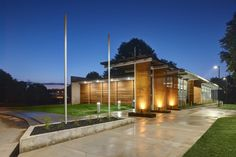 Giovanettii Community Shelter's glass and cedar facade belies its function as a FEMA safe room. (Cameron Campbell, Integrated Studio)