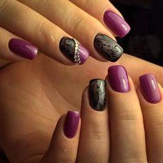 Autumn nails, Beautiful evening nails, Dark purple nails, Evening nails, Fall nails ideas, Fall short nails, Manicure tights, Nail veil