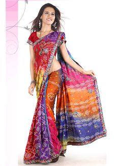 Multi Colored Georgette Bandhini Saree