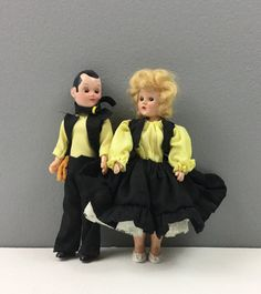 Vintage Couple Doll Matching Black & Yellow Outfits Bride Groom Cake Topper Dolls Set of 2 Altered Art Supply Creepy Halloween Decoration by injoytreasures on Etsy
