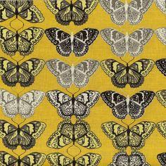 """""""Butterflies Mustard"""" von Valori Wells aus """"Cocoon"""" für Free Spirit Fabrics Motiv Größe: Schmetterlinge ca. 7 x 4,5cm groß Farbe: Senf, Be..."""