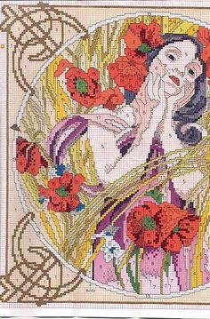 "Borduurpatroon Kruissteek ""De Maanden"" van Alfons Mucha *Cross Stitch Pattern ""The Months"" ~serie 2: Augustus 2/4~"