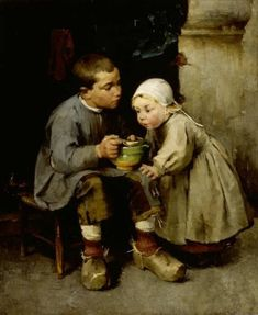 Helene Schjerfbeck (Finnish painter) 1862 - 1946 Pikkusiskoaan Ruokkiva Poika (Boy Feeding his Little Sister), 1881 oil on canvas 115 x cm. Helene Schjerfbeck, Painter, Canvas, Painting, Art, Art Pictures, Old Paintings, Art History, Inspirational Artwork