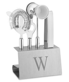 Monogrammed Stainless Steel Bar Tool Set | When commencement congratulations are in order, share your best wishes with one of these creative picks.