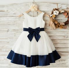 On Sale Distinct Navy Blue Bridesmaid Dresses Round Neck Black And Navy Satin Lovely Simple Flower Girl Dresses With Bow Sash, Simple Flower Girl Dresses, Dresses Kids Girl, Girl Outfits, Children Dress, Flower Girls, Blue Flower Girl Dresses, Children Clothes, Affordable Bridesmaid Dresses, Black Bridesmaid Dresses