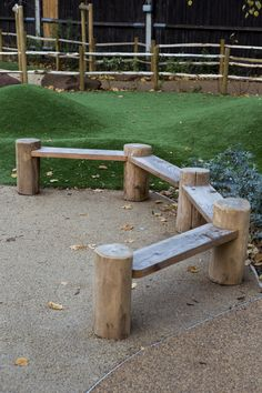 Bespoke Oak Bench Integrating Robinia uprights by Duncan&Grove Natural Outdoor Playground, Oak Bench, Fire And Stone, Forest School, Backyard For Kids, Sandbox, Outdoor Furniture, Outdoor Decor, Outdoor Spaces