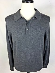 JOS A BANK Sweater L Gray Merino Wool Long Sleeve Men's #JosABank #Polo