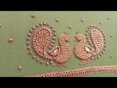 This is an elegant aari embroidery stitches learning in easy way filling Dear friends is this video explain and helps for aari embroidery beginners to improv. Peacock Embroidery Designs, Hand Embroidery Design Patterns, Kurti Embroidery Design, Aari Embroidery, Embroidery Fashion, Simple Blouse Designs, Bridal Blouse Designs, Zardosi Work Blouse, Mirror Work Blouse Design