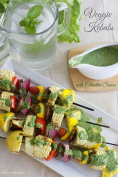 ForkandForage | Veggie Kebabs with Cilantro Sauce