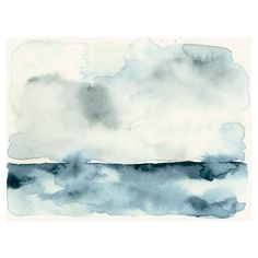 Watercolor Art Print Clouds over the Sea ❤ liked on Polyvore featuring backgrounds, effects, pictures, beach, clouds and filler