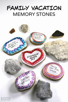 Make some painted stones to preserve those sweet summer family vacation memories! (Plus, learn about our favorite memories from our family vacation to Sherkston Shores) #rocks #rockpainting #rockart #art #artsandcrafts #artsy #craft #craftsforkids #summercraft #summer #summertime #summerfun #vacation #vacay #kbn #binspiredmama