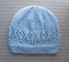 awesome Free Knitting Pattern - Hat with Lacy Diamonds for a Lady Baby Hat Knitting Patterns Free, Baby Hat Patterns, Baby Hats Knitting, Knitting Stitches, Knit Patterns, Free Knitting, Knitted Hats, Newborn Knit Hat, Stitch Patterns