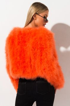 Long sleeve round neck feather jacket by AKIRA Red Fur, Ostrich Feathers, Fur Fashion, Akira, Snug Fit, Fur Coat, Orange, Furs, Long Sleeve