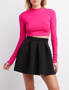 Pleated Scuba Skater Skirt: Charlotte Russe