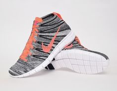 #Nike Free Flyknit Chukka Wmns - Grey/Mango #sneakers | would loves these low-cut