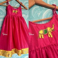 For a Cutie Pie! Lovley designer gown for kids with elephant design hand embroidery work. Pink and yellow is beautiful combination. Yoshnas By Ela. Kids Dress Wear, Kids Gown, Baby Dress, Gowns For Kids, Children Dress, Kids Wear, Frocks For Girls, Dresses Kids Girl, Kids Outfits
