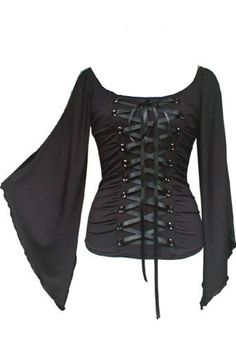 9527db15ef Gothic Corset Style Stretchy Black Lace Up Top   For more information