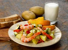 Yellow Potato and Red Pepper Shrimp Sauté #fruit #veggies #protein #dairy #MyPlate #WhatsCooking
