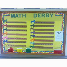 The students have to answer division questions… Interactive Bulletin Boards, Math Bulletin Boards, Bulletin Board Display, Teaching Math, Maths, Teaching Ideas, Goal Charts, Math Word Problems