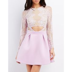 Charlotte Russe Mesh & Lace Cut-Out Skater Dress (48 BRL) ❤ liked on Polyvore featuring dresses, lavender, skater dress, lavender cocktail dress, lace cocktail dress, lace dress and lavender dress