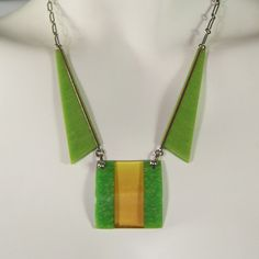Vintage Jakob Bengel 1930s Green & Amber Art Deco Chrome & Bakelite Necklace