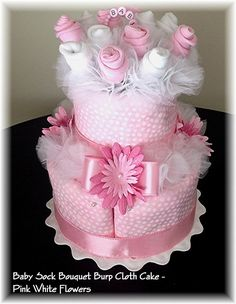 2 Tier Baby Sock Bouquet Burp Cloth Cake – Pink White Flowers – Baby Girl - Baby Shower Table Centerpiece – Nursery Décor – Diaper Cake