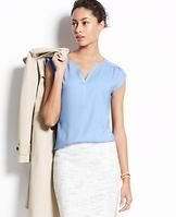 Split Neck Top - Flaunting a pretty palette of wear-now colors, this effortlessly elegant (and amazingly versatile) top is one of spring's style anchors - dressed up or down. Split neck. Cap sleeves. Shirred forward shoulder seams. Shirred back yoke.