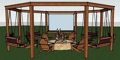 This detailed DIY tutorial shows you how to build a large circular pergola around a fire pit, including swings, a serving bar, and an add-on movie screen.