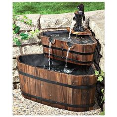 Garden Patio Wooden Barrel Water Fountain w/ Electric Pump Trickling Basin Home