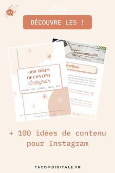 Découvre + 100 idées de contenu pour Instagram (publications, stories, IGTV et Reels). www.tacomdigitale.fr Tips Instagram, Internet, Place Card Holders, Cards, Layout, Business, Instagram Ideas, Management, Entrepreneurship