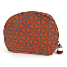 Flower of Life Cosmetic Bag Terra Cotta/Grey - Global Groove (P)