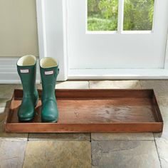After tromping through the outdoors, this Embossed Metal Boot Tray is a great spot to elegantly park your boots, shoes, and umbrellas. | Grandin Road Color Crush on Burnt Orange