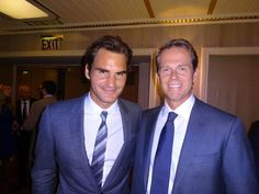 Roger Federer with childhood idol Stefan Edberg