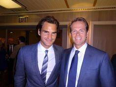 Roger Federer with childhood idol Stefan Edberg