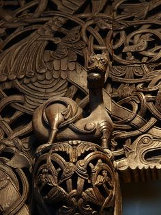 wooden viking like carving art