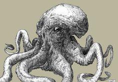 Roland Prinsler: Illustration Friday: Ocean Ocean Depth, Octopus Art, Lion Sculpture, Friday, Statue, Illustration, Sculpture, Character Illustration