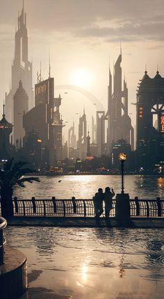 Scenic view of a future city, #cyberpunk #scifi inspiration